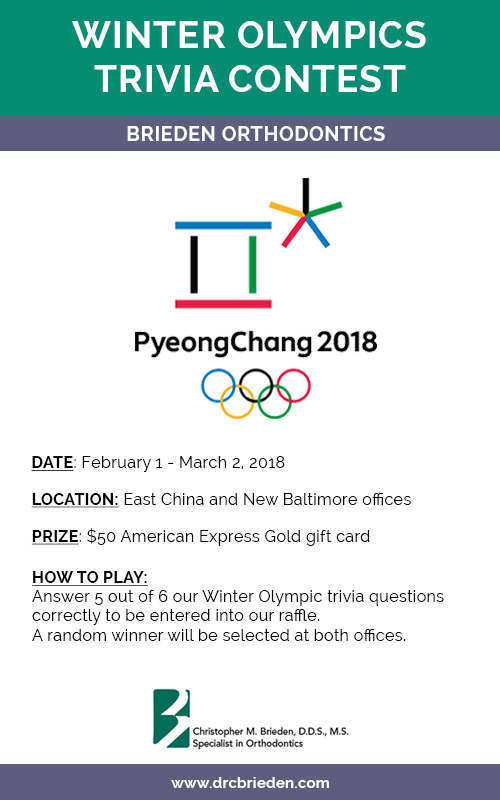 Brieden Orthodontics' Winter Olympics Contest flyer